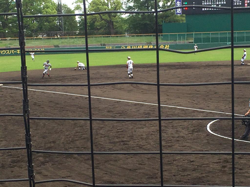 中川湧選手のヒットで、柳田選手が三塁へ!
