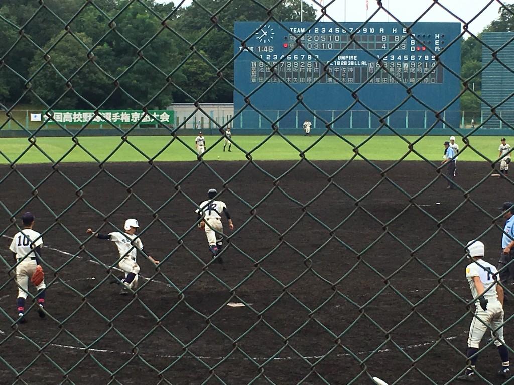 平塚選手が塔南5点目のホームイン
