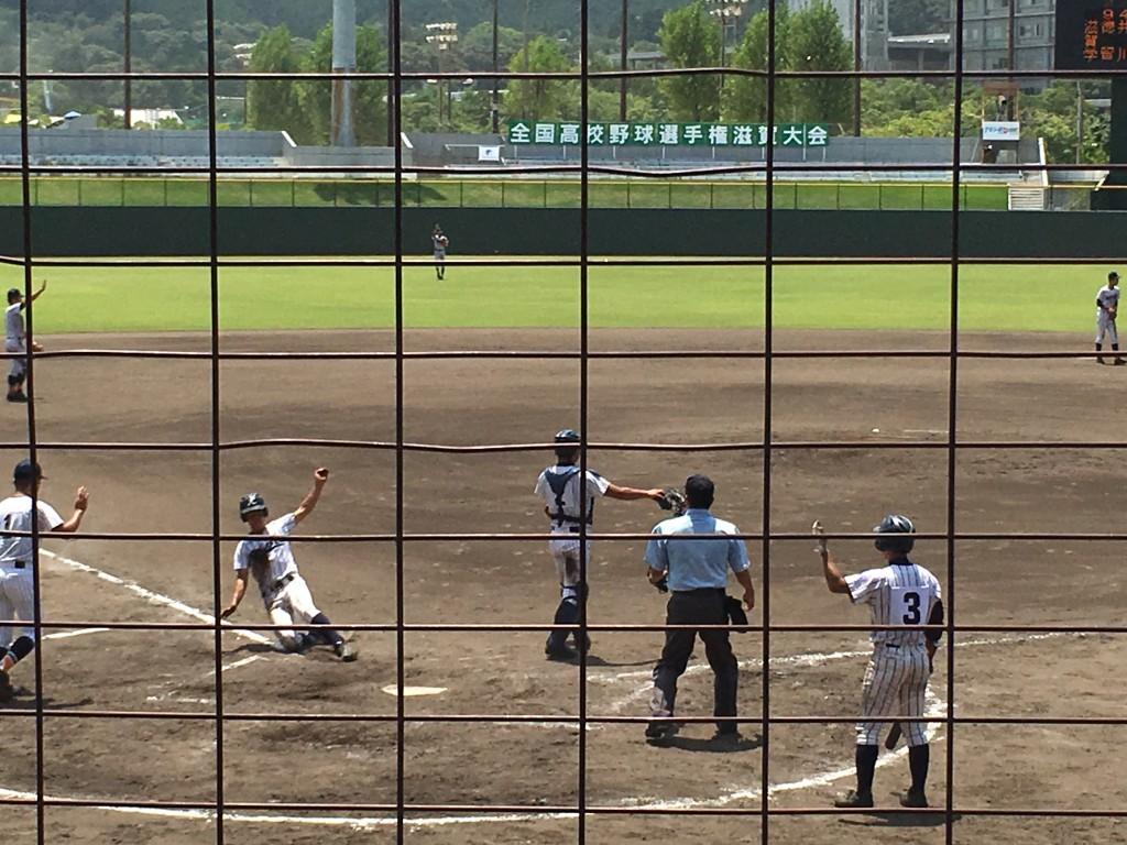 篠田選手が7点目のホームイン