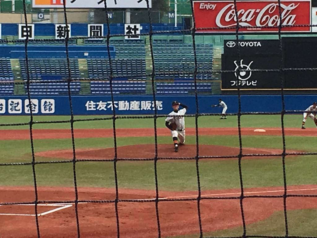 帝京先発の高丸投手